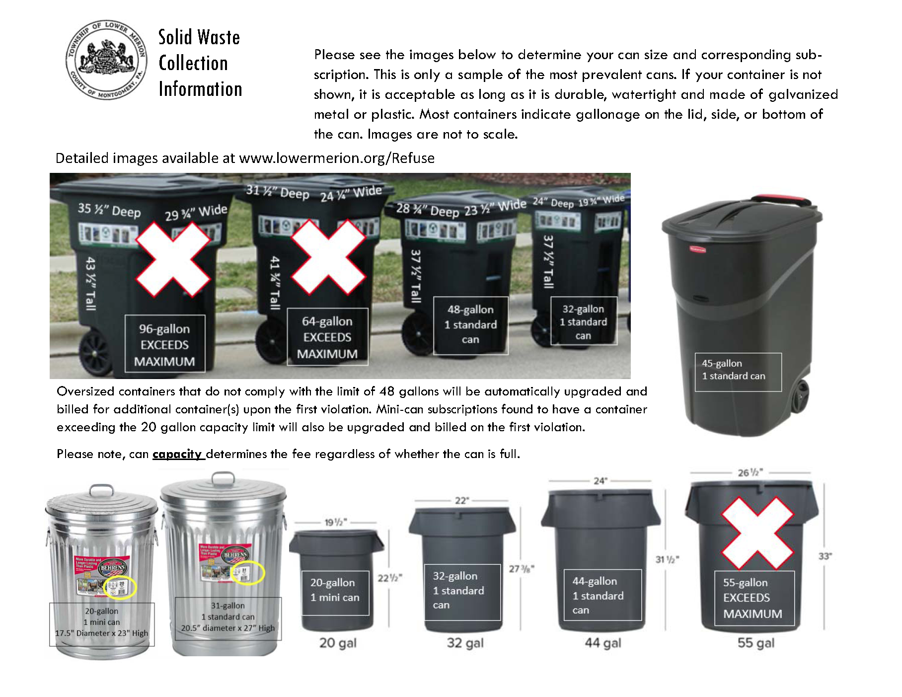 Images of representative Trash containers