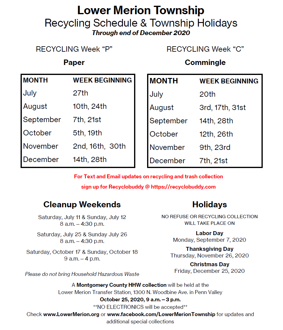 Lower Township Trash Day Christmas 2020 Lower Merion Trash & Recycling Guide and Schedule   Lower Merion